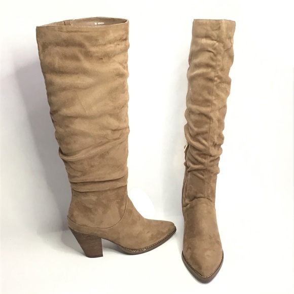 Comfort Shoes - Tan Slouchy Knee High Boots